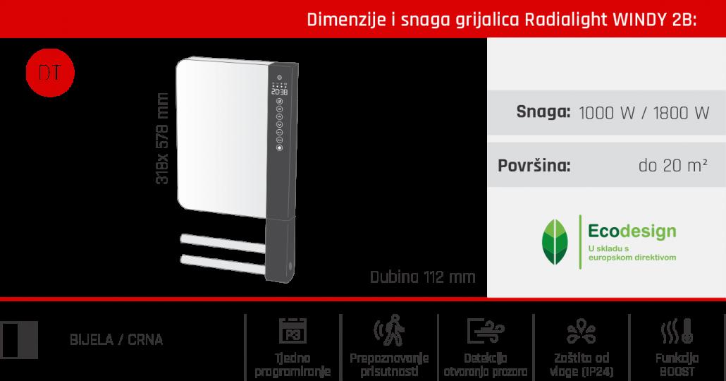 Dimenzije i snaga grijalica Radialight WINDY B2
